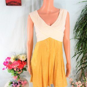 Esley  Creme & Gold Sleeveless Pleated Fit/Flare